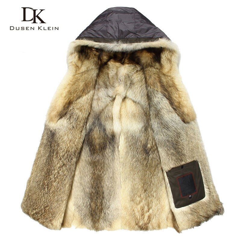 Luxus Wolf pelz für männer Dicke jacken lange mäntel Designer fashion Warm designer die winter Warm luxus mit kapuze jacken E1125A