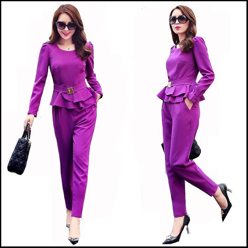 Ladies Pant Suit 2016 Brand New 2 Piece Set Women Elegant Blazer Tops with  Pencil Trouser Sets Costume