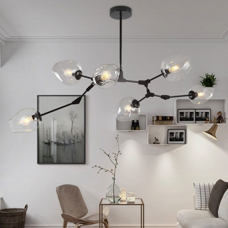 LOFT Industrial Chandeliers Globe Glass Lights Modern Minimalist Design Chandelier Hanging in Living Room/Restaurant E27 Lamps