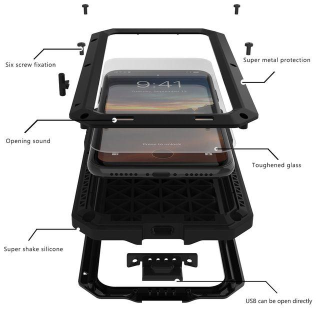 Shockproof Coque Aluminum Metal bumper Frame+Glass Cover On For iphone 4 4s 5s 5 s SE 6s 6 s plus 6plus 6splus 7 7plus Case