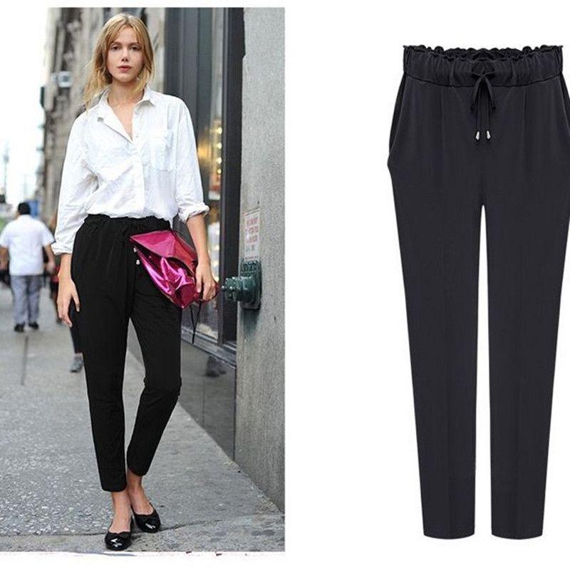 Hot 2019 mode pantalon en mousseline de soie bonbons décontracté Harem pantalon taille élastique grande taille femmes pantalons maisones Harem pantalon M-6XL
