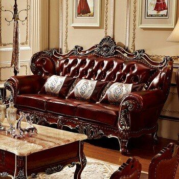 Luxury quality Leather Sofa set Living Room solid wood by ProCARE Living Room furniture muebles de sala puff asiento