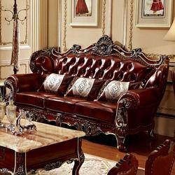 Mewah Berkualitas Kulit Sofa Ruang Tamu Kayu Solid dengan Bursarumah Perabot Ruang Keluarga Muebles De Sala Puff Asiento