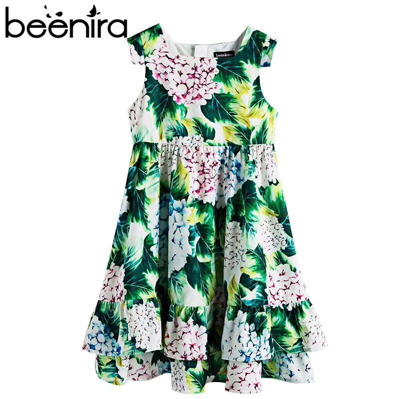 Beenira Girls Summer Dress 2017 New European And American Style Children Flower Pattern Sleeveless Dresses4-14Y Kids Cute Dress