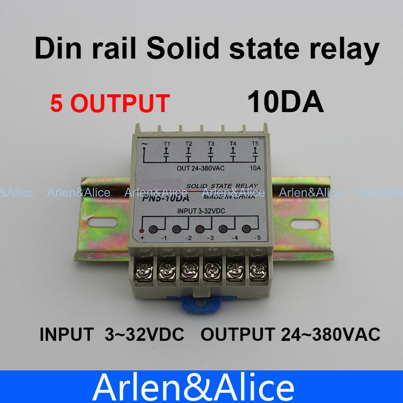 10DA 5 Channel Din rail SSR quintuplicate five input 3~32VDC output 24~380VAC single phase DC solid state relay