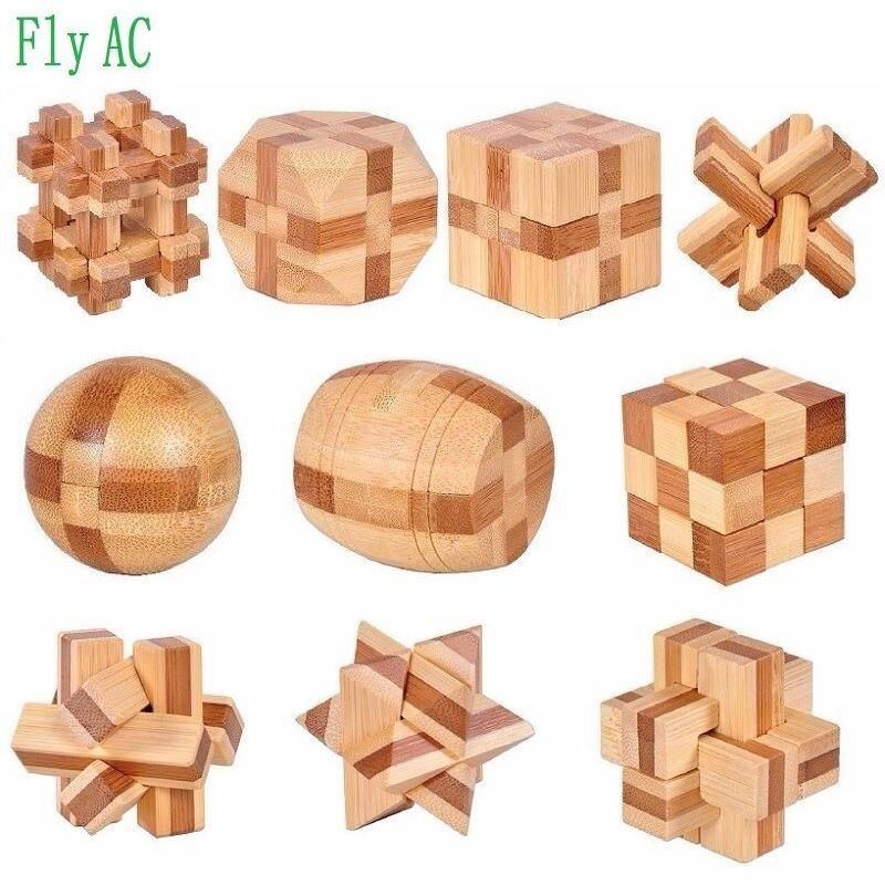 10 pcs/ensemble 3D à la main vintage Ming verrouillage Luban verrouillage jouets en bois adultes puzzle enfants adulte cadeau De Noël