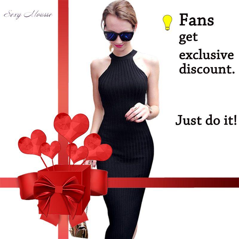 Femmes Long tricot robe 2016 printemps Sexy Slim moulante robes élastique Skinny Split robe brève licou noir robes vestidos