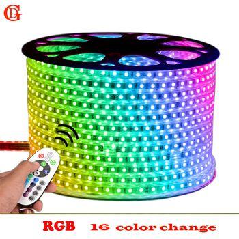 GD LED bande IP65 5 M 6 M 7 M 8 M 9 M 10 M 11 M 12 M 13 M RGB Led Bande Imperméable À L'eau 5050 Led Eclairage Neon Light 220 V Led Bande Lumières