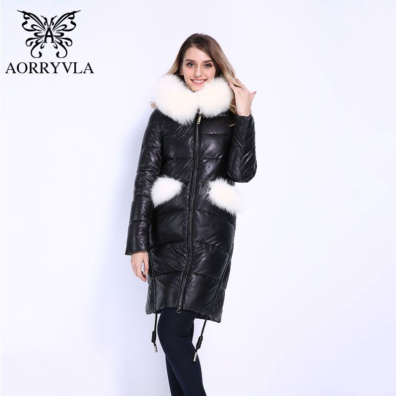 AORRYVLA 2018 New Fashion Women's Thick Winter Full Sleeve Real Fox Fur Hooded Long Coat Female PU Leather Jackets Good Quality