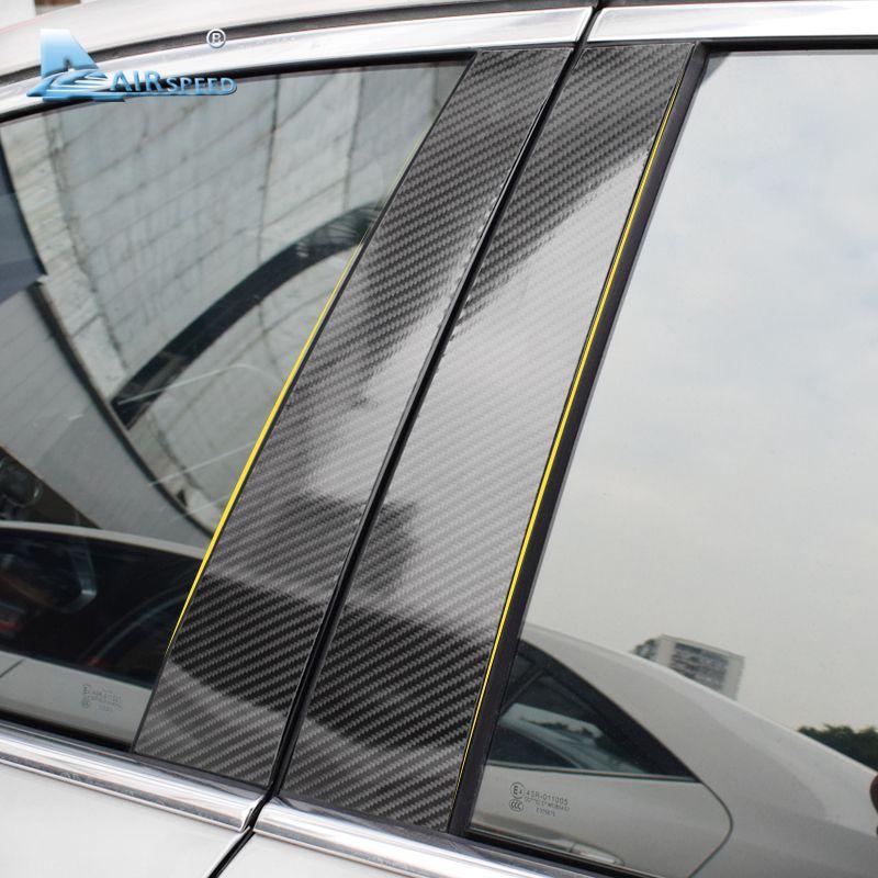Airspeed Carbon Fiber B Pillars Car Window Mouldings Trim Sticker for BMW 3 5 Series E90 E60 E46 E70 E84 F30 F20 F10 F15 F16 F25
