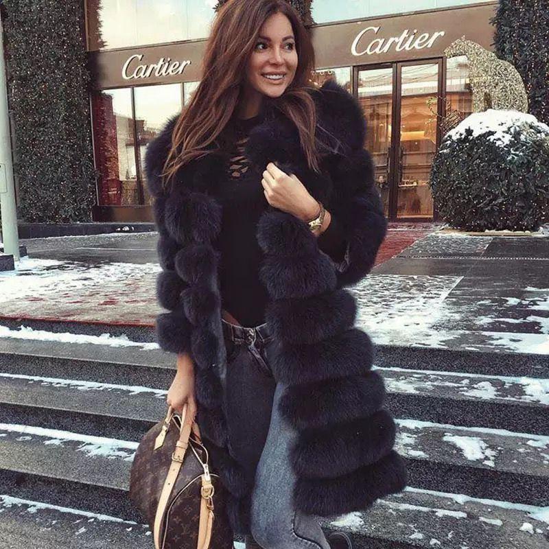 Echtpelz 2018 Echt Fuchs Pelz Mantel Frauen Natürliche Echtpelz Jacken Weste Winter Oberbekleidung Frauen Kleidung