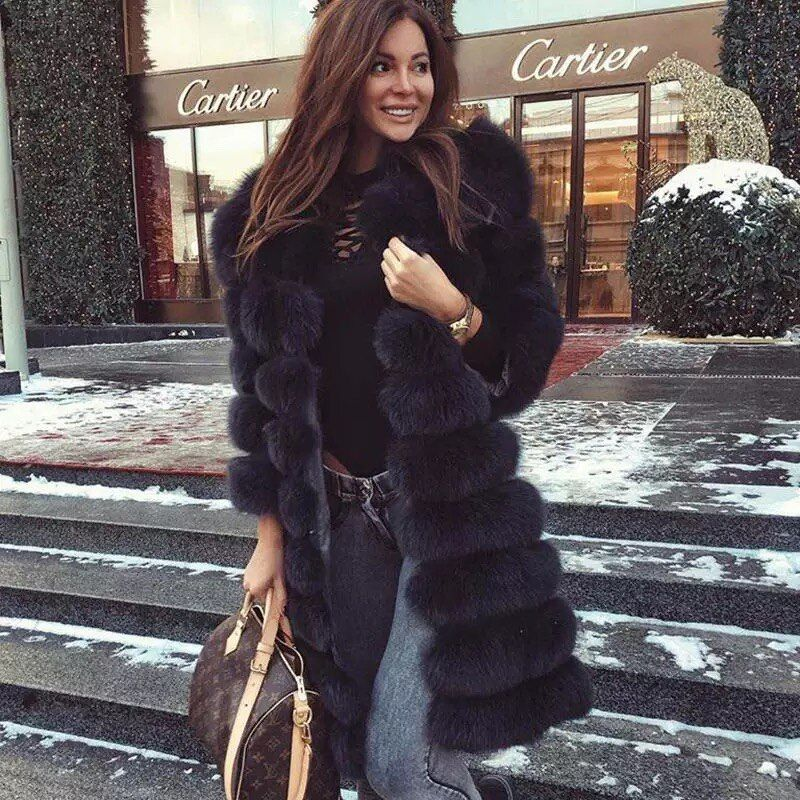 Real fur 2018 Real Fox Fur Coat Women Natural Real Fur Jackets Vest Winter Outerwear Women Clothes