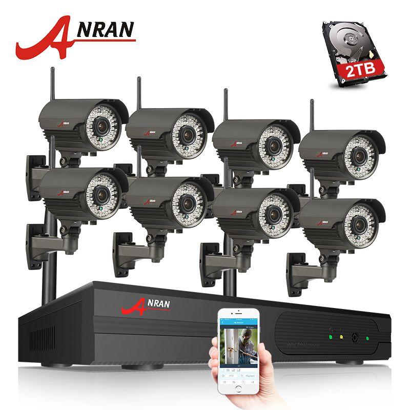 ANRAN P2P 8CH 1080P HDMI WIFI NVR 3TB HDD 2.8-12MM 78 IR Outdoor 2MP Wireless IP Camera Video Security Surveillance CCTV System