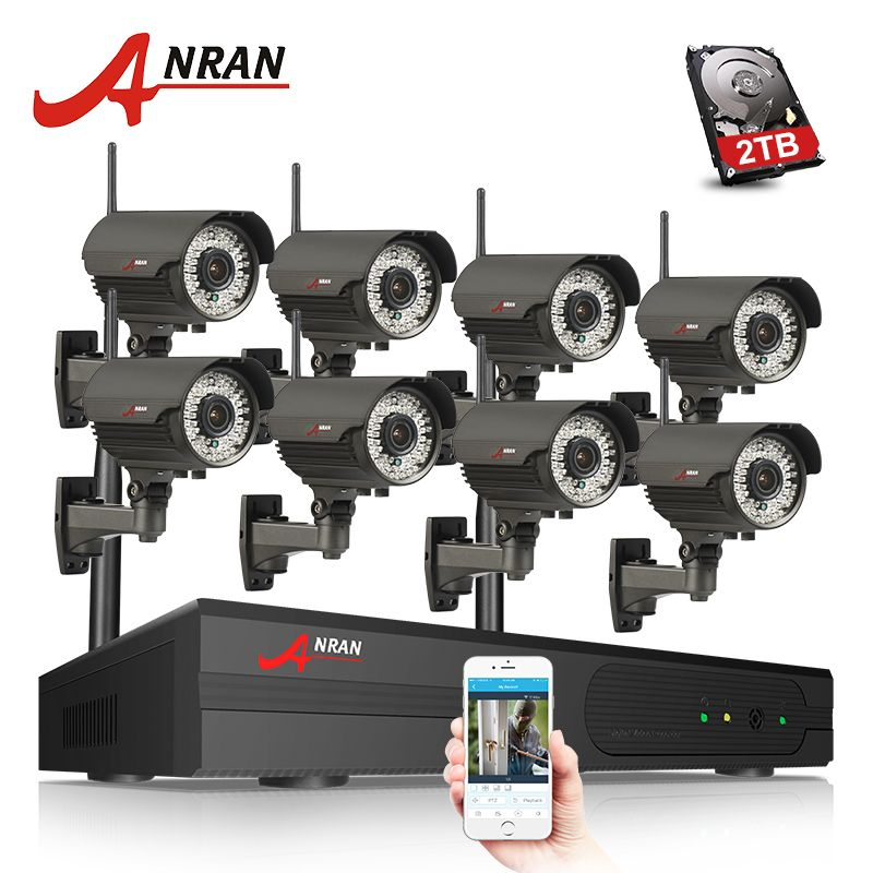 ANRAN P2P 8CH 1080P HDMI WIFI NVR 3TB HDD 2.8-12MM 78 IR Outdoor 2MP Wireless IP Camera Video Security Surveillance CCTV System