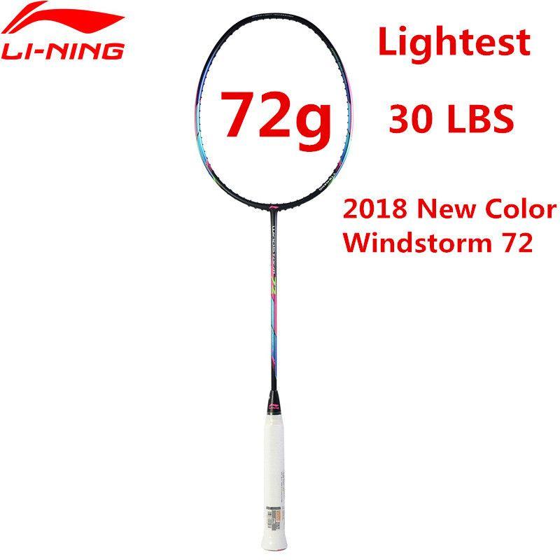 72g Li-Ning Super Light Badminton Racket Professional Carbon Fiber Li Ning Racquet Black AYPM204 Lining WINDSTORM 72 L835
