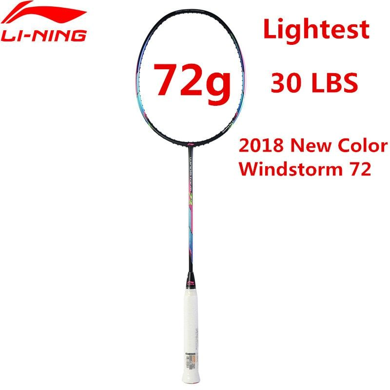 72g Li-Ning Super Licht Badminton Schläger Berufs Carbon Li Ning Schläger Schwarz AYPM204 Futter STURM 72 l835OLE