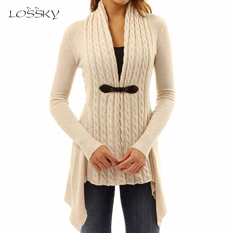 Lossky Casual Patchwork Asymmetrical Long Cardigan Sweater Women 2017 Autumn Winter Female V-neck Knitted Cardigans