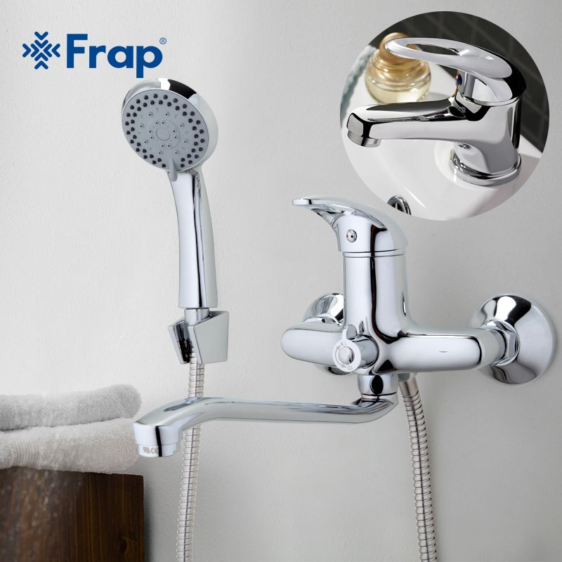 FRAP 300mm Outlet pipe Chrome Bathtub shower faucet with bathroom basin faucet tap mixers cold and hot mixer F2203+1003