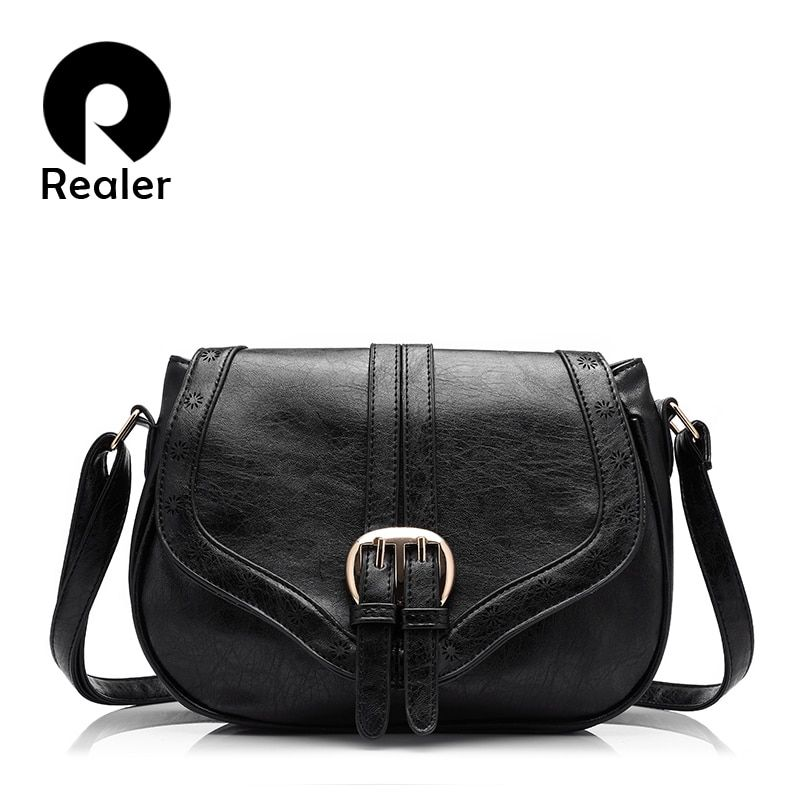 REALER hollow out women handbags fashion women saddle bag solid 8 colors <font><b>optional</b></font> bags high quality PU messenger bag