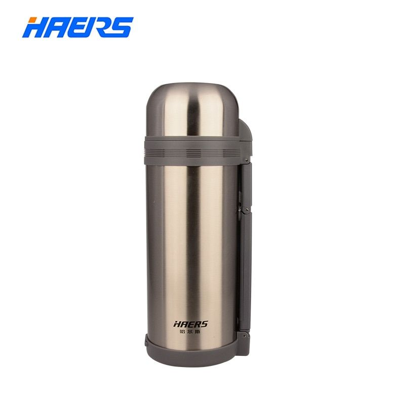 Haers 1200ml 1500ml 1800ml Wide Mouth Thermos With Hand <font><b>Grip</b></font> Vacuum Bottle Double Stainless Steel Insulated Thermos HG-1200-1