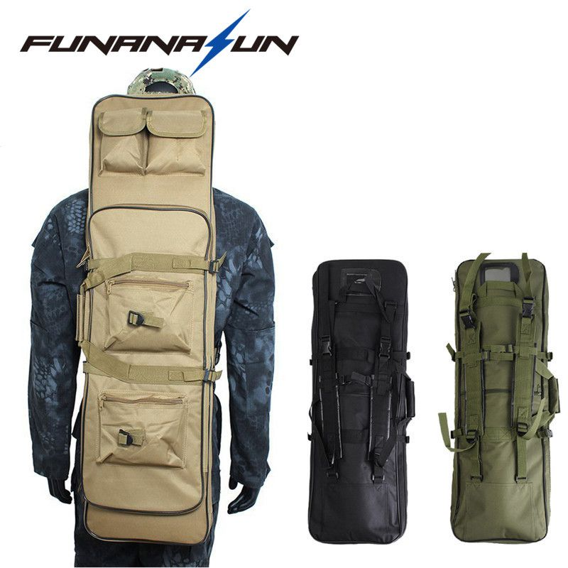 33.5 Tactical Double Rifle Bag Military Shotgun Storage Backpack With MOLLE Pouches Hand Carry Integrated Pistol Case Magazine