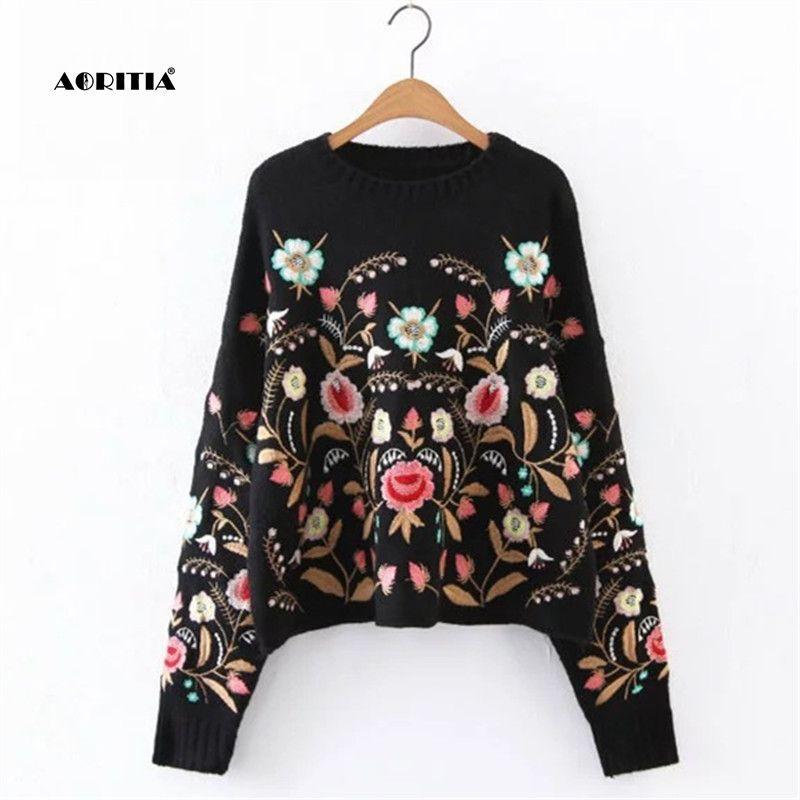 2017 осень-зима Для женщин свитер моды цветочный Вышивка пуловер уличная Свитеры для женщин