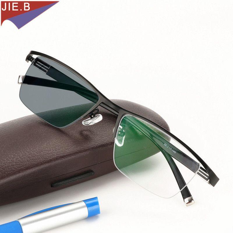 Nouveau Design photochromique lunettes de lecture hommes demi-jante en alliage de titane presbytie lunettes lunettes de soleil décoloration avec dioptries