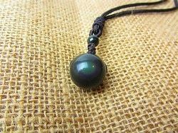 Black Obsidian Rainbow Eye Beads Ball Natural Stone Pendant Transfer Lucky Love Crystal Jewelry Free Rope For Women and Men 18MM