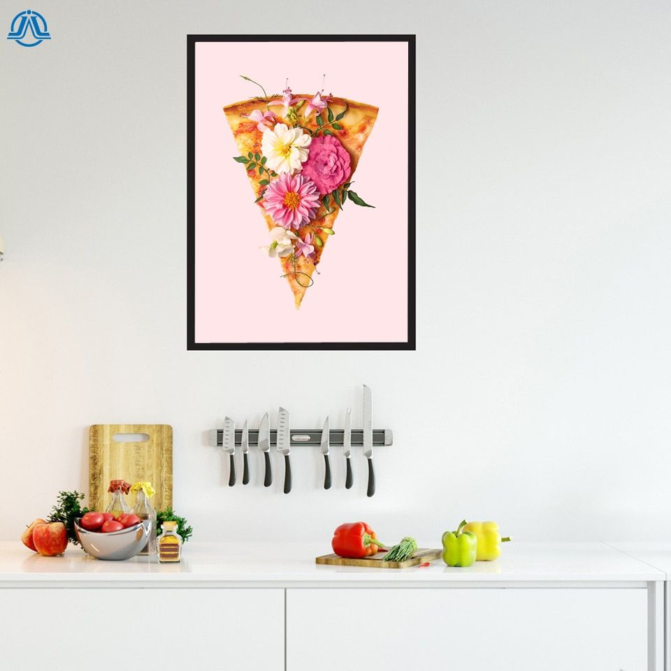 Nordic Floral Pizza Poster and Prints Simple Canvas Painting Art Wall Pictures for dinner Room Modern Home Decoration No Frame