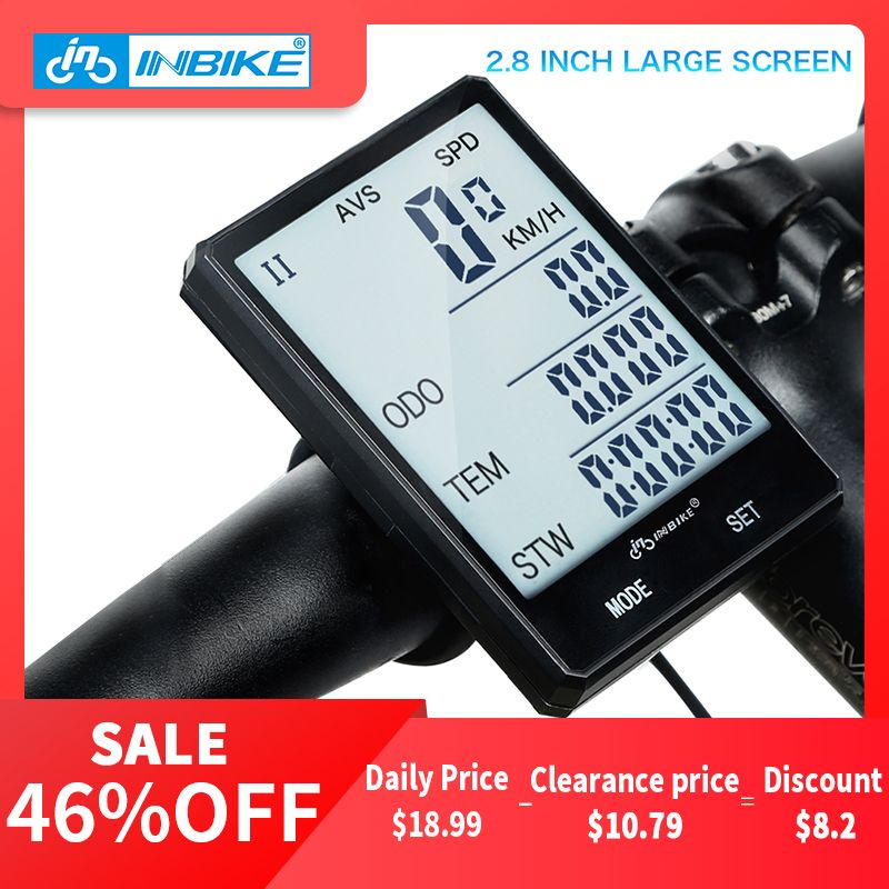 INBIKE 2.8'' Large Screen Bicycle Computer Wireless Bike Computer Rainproof Speedometer <font><b>Odometer</b></font> Cycling Measurable Stopwatch