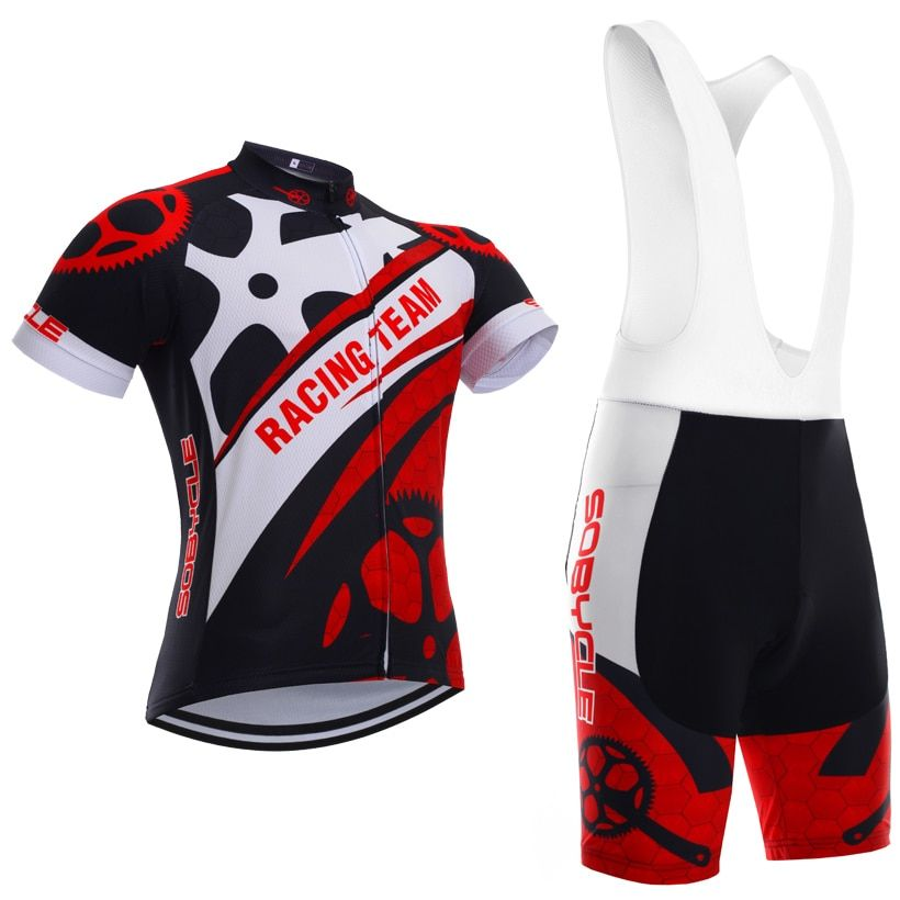 Rouge Roues sobycle marque équipe pro cycling jersey 9D gel pad vélo shorts set Ropa Ciclismo summer vélo Maillot porter