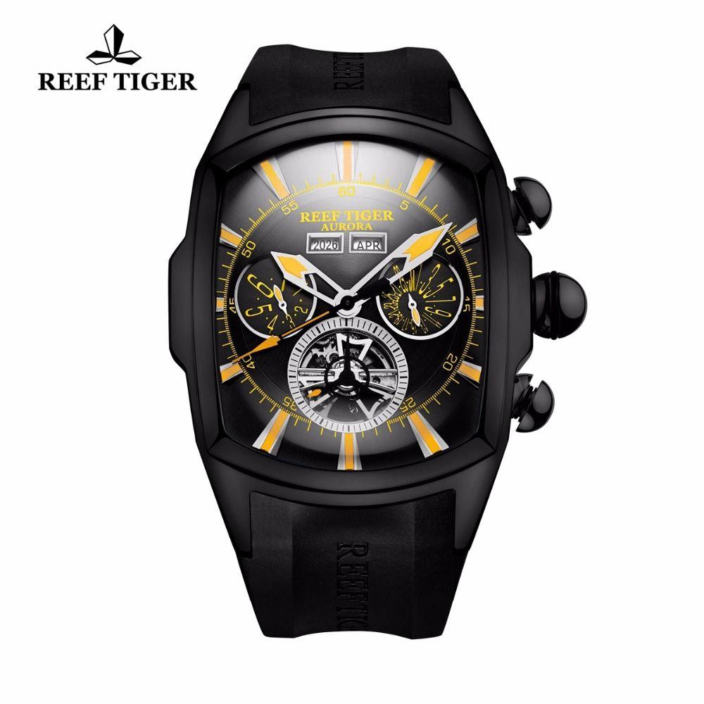 Reef Tiger/RT Casual Sport Watches for Men Black Steel Rubber Strap Luminous Tourbillon Watch Analog Quartz Watches RGA3069