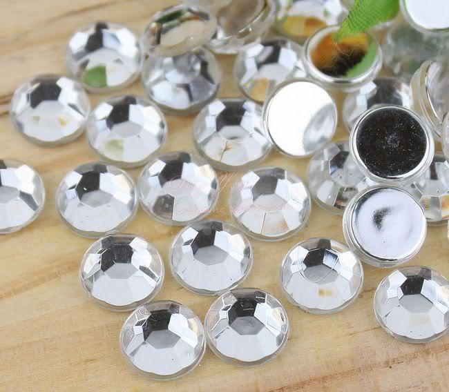 Livraison gratuite! 2mm ~ 25mm, 100 ~ 20000 pcs/lot Crystal Clear Couleur dos Plat Acrylique Nail Art perles Décoration.