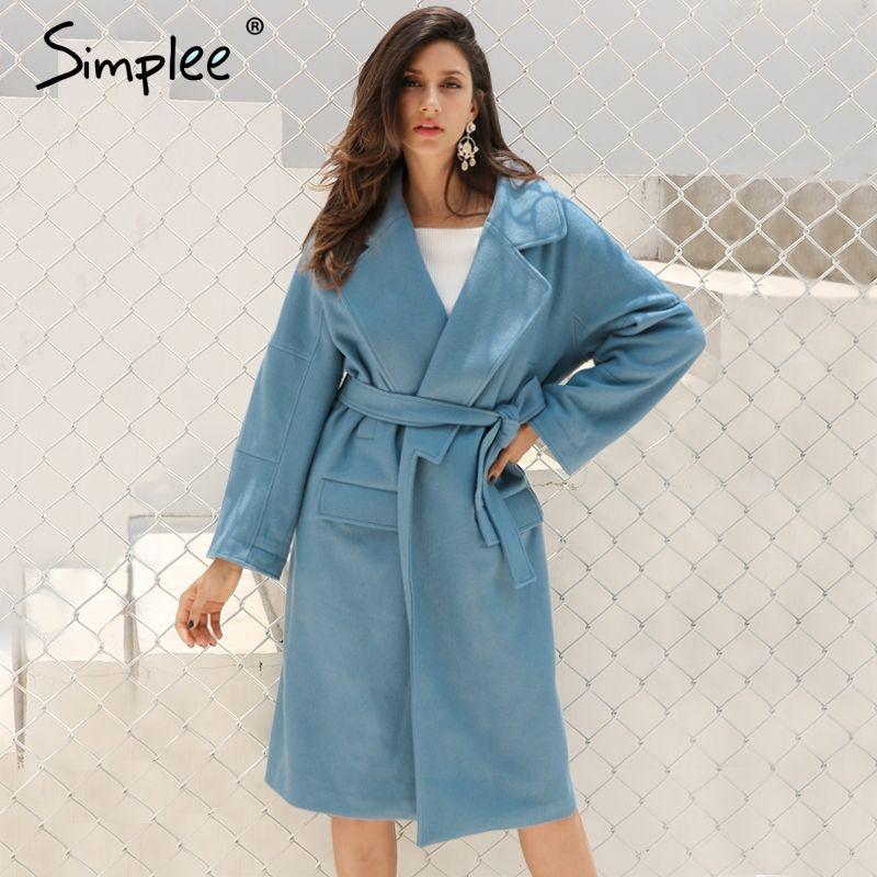 Simplee Elegant turndown warm winter wool blend female Black belt pockets long coat women Casual autumn overcoat outerwear 2017