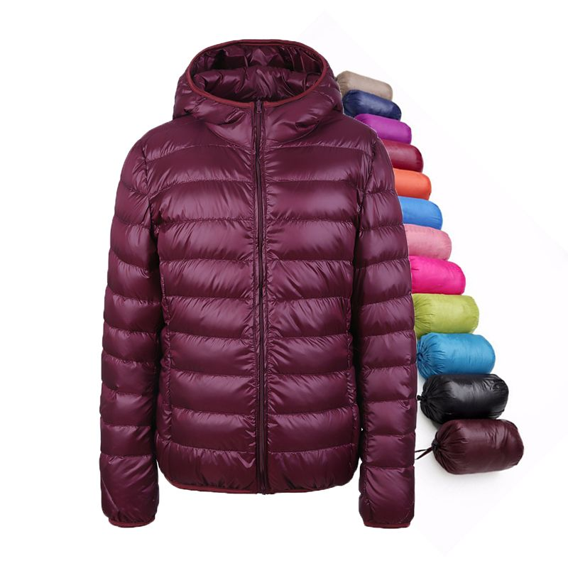Winter Ultra Light Women Down Coats Hooded 90% White Duck Down jacket Thin Slim Parka Female Feather Jacket UHLULC