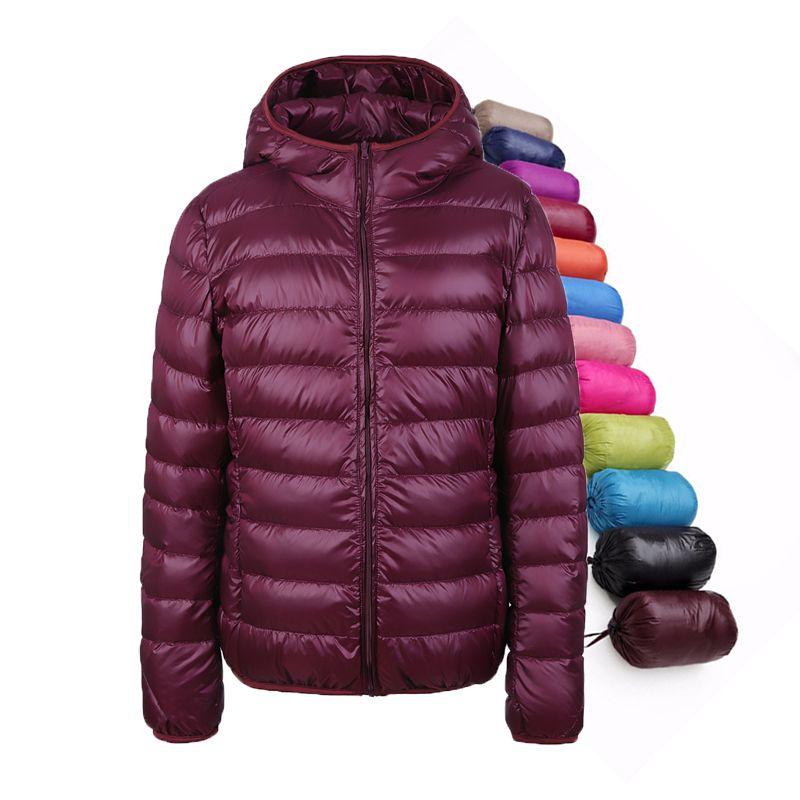 Women Down Coat 90% Duck Down Jacket Women <font><b>Ultra</b></font> Light Thin Winter Hooded Down Jackets UHLULC