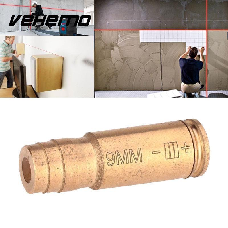 Vehemo 9mm Red Brass Copper Bullet Laser Bore Sighter Sight Caliber Cartridge For Gun