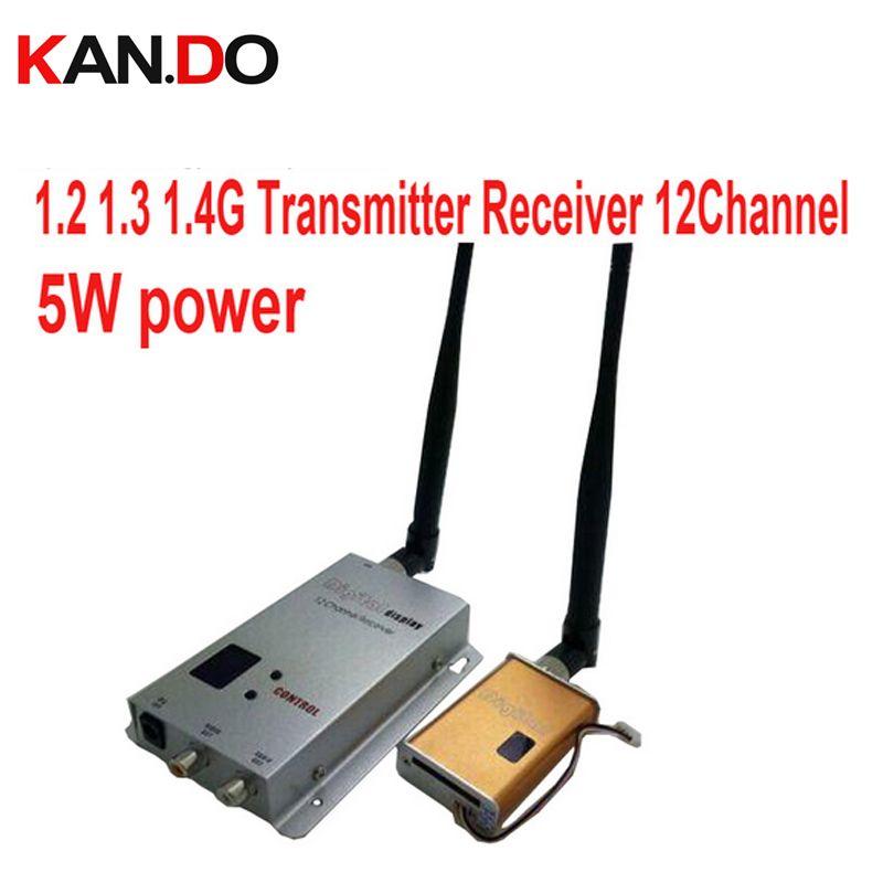 5 Watt 12ch 1,1G 1,2G 1,3G Wireless AV transceiver für cctv 1,2G Video Audio Transmitter bild übertragung FPV drone sender