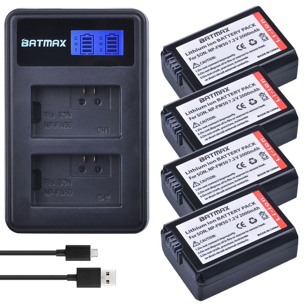 4 pc NP-FW50 NP FW50 FW50 Batterie + LCD USB Dual Ladegerät für Sony A6000 5100 a3000 a35 A55 a7s II alpha 55 alpha 7 A72 A7R Nex7 NE