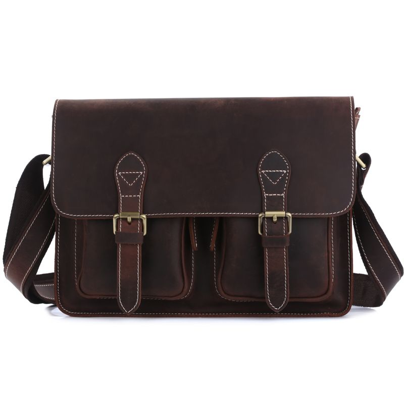 TIDING Leather shoulder bag women men messenger bag England style college school book bag 1103