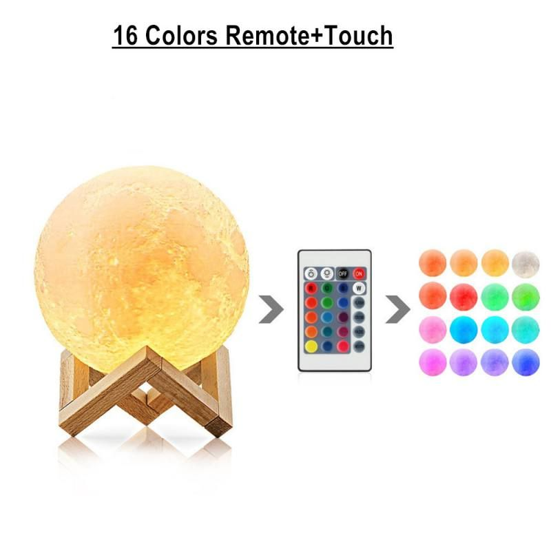 Remote Control 16 Colors Touch Moon Lamp 3D Printed USB Rechargeable Night Lights with Stand Touch Sensor Home decoration