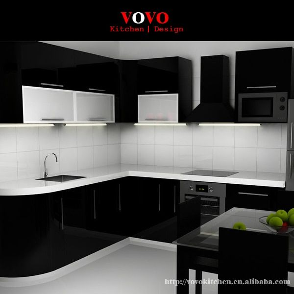 Hot sales high gloss lacquer kitchen cabinets Black colour modern kitchen furnitures pantry