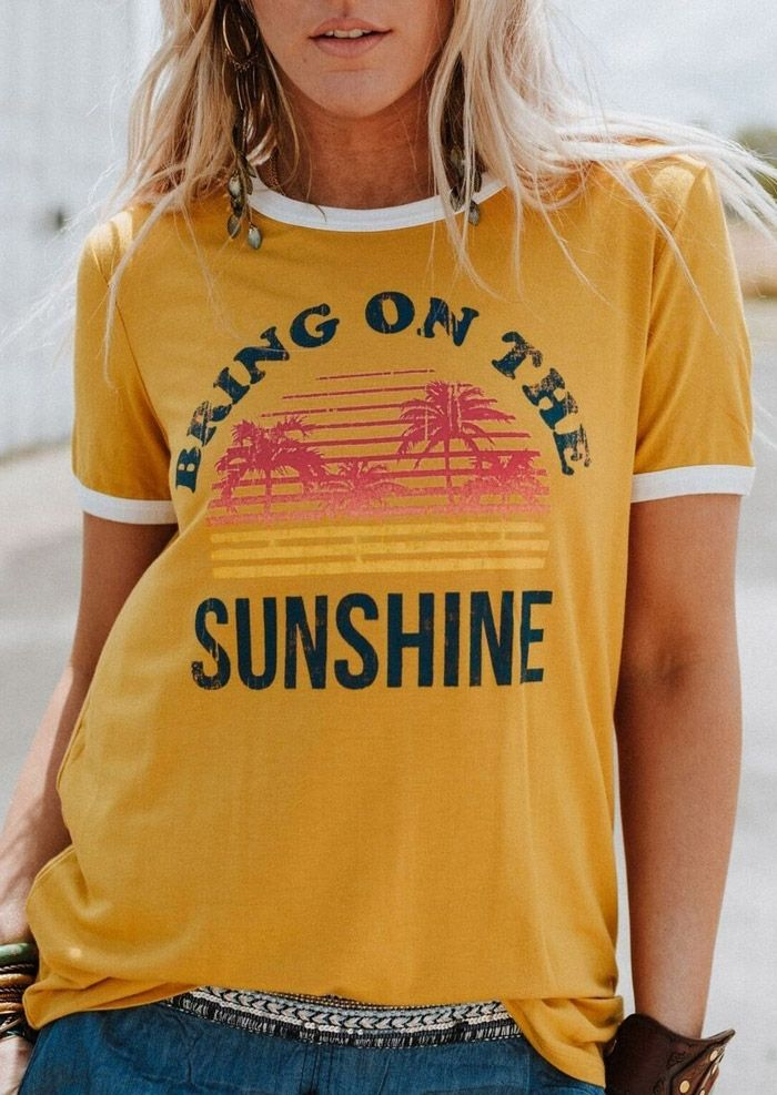 Plus Size Women T-Shirt Summer Short Sleeve tops tee Bring On The Sunshine T-Shirt 2018 Femme Harajuku t shirt Ladies Tops Tee