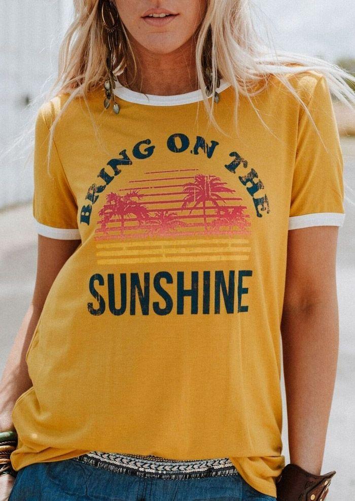 Plus Size Women T-Shirt Summer Short Sleeve tops tee Bring On The Sunshine T-Shirt 2018 Femme Harajuku t shirt Ladies Tops Tee