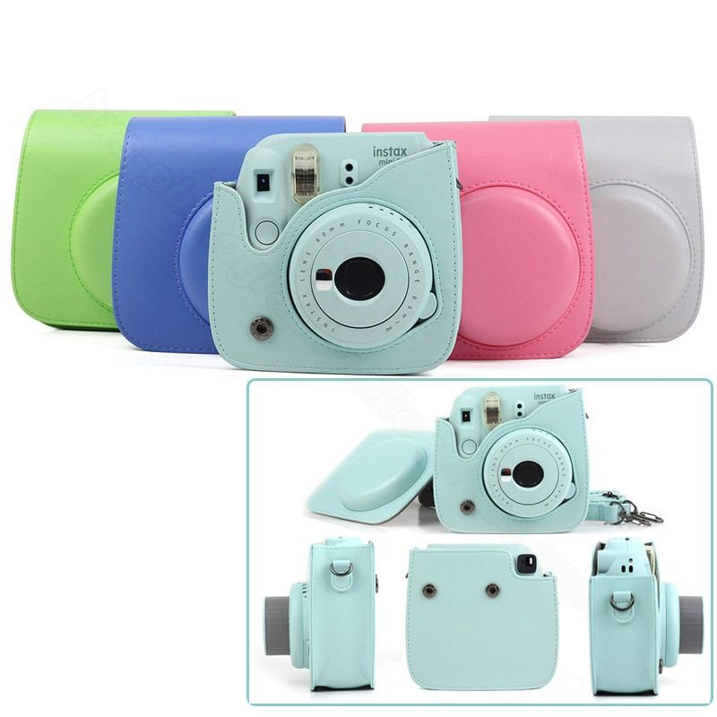 Fujifilm Instax Mini 8 Mini 9 Camera Protector, PU Pouch Instant Film Camera Accessories, Classic Shoulder Strap Camera Bag