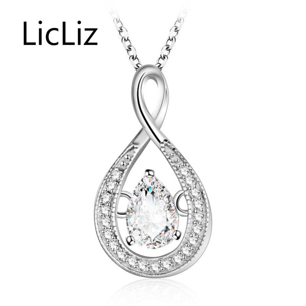 LicLiz Luxury Waterdrop CZ Zircon Pendant Necklaces for Women 925 Sterling Silver Necklace Colgantes Mujer Moda Collares LN0365