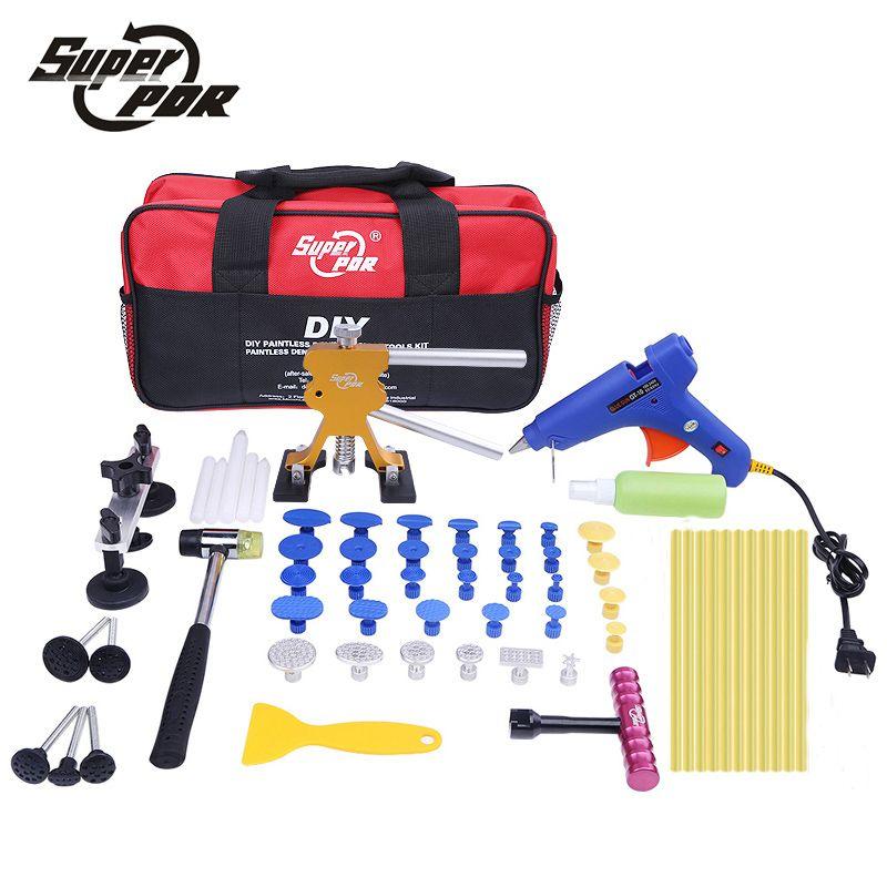 Super PDR car body dent removal tools Pulling Bridge Dent Puller Glue Gun metal tabs Paintless Dent Repair tools kit
