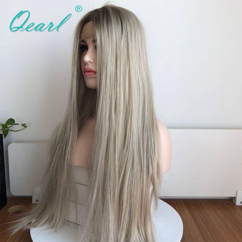 Menschliches Haar Gerade Volle Spitze Perücke Ombre Blonde Grau Farbe Brasilianische Remy Haar Perücke mit Baby Haare Mittleren Teil Pre gezupft Qearl