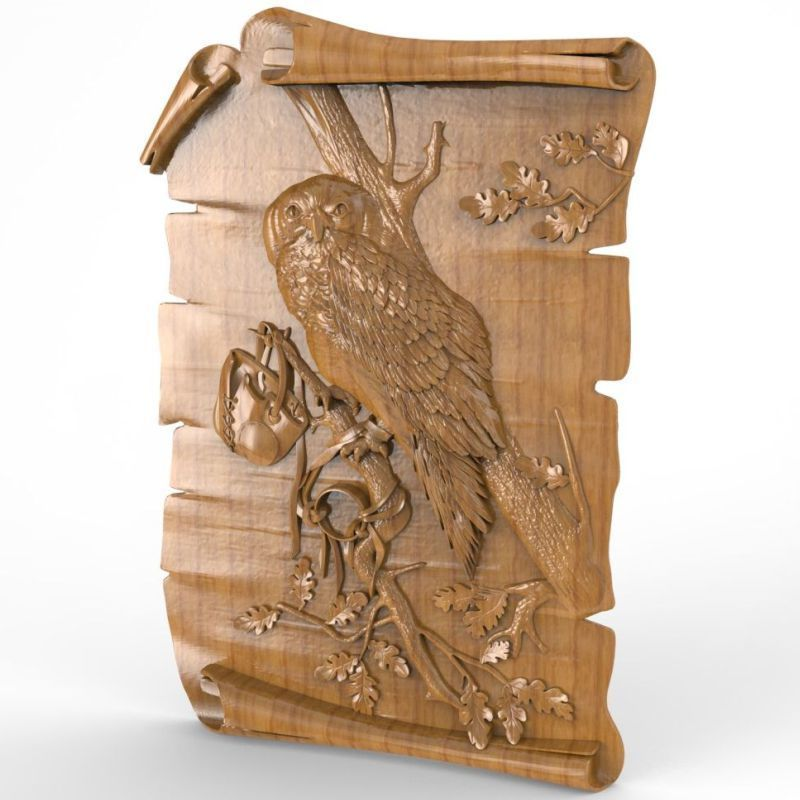 Owl 3D Model STL relief for cnc STL format Furniture Owl 3D STL format furniture decoration