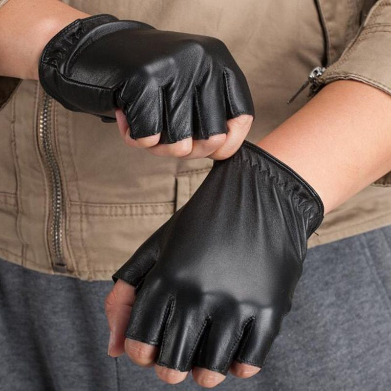 Neue Mode Hohe Qualität Unisex Frauen Männer Halbfinger Echtem Leder Motorrad Fingerlose Luvas Taktische Schaffell Handschuhe S75
